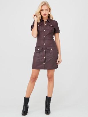 River Island Faux Leather Shirt Dress-oxblood