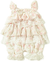Edgehill Collection Baby Girls Newborn-6 Months Tiered Rose-Print Chiffon & Lace Romper