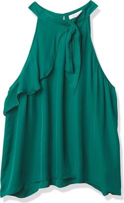 Parker Women's Malaika High Tie Neck Sleeveless Asymmetrical Blouse