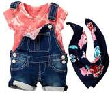 True Religion Tie Dye Tee, Overall, & Handkerchief 3-Piece Set (Baby Girls)