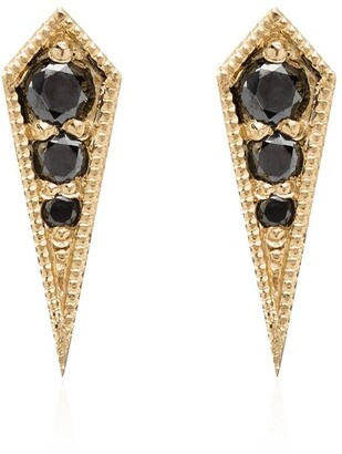 Lizzie Mandler Fine Jewelry 18kt Yellow Gold And Black Diamond Kite Studs