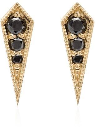 Black Diamond Lizzie Mandler Fine Jewelry 18kt yellow gold and kite studs