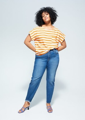 MANGO Violeta BY Chest-pocket striped blouse yellow - 10 - Plus sizes