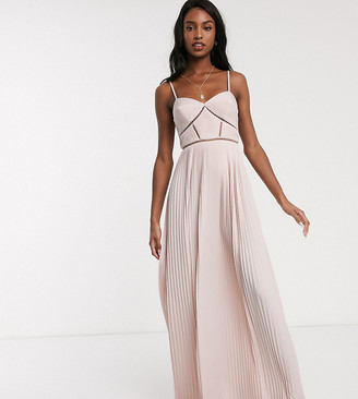 Asos Tall ASOS DESIGN Tall Premium cami pleated maxi dress with ladder trim detail in soft pink