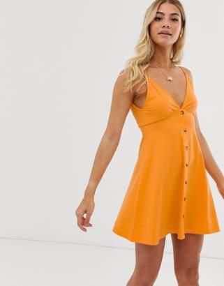 Asos Design DESIGN mini cami smock dress with buttons-Orange