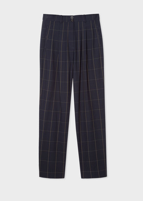 Paul Smith Women's Dark Navy Windowpane Check Cotton Pleated Pants