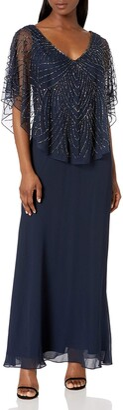 J Kara Women's Petite Pop Over Long Beaded Dress