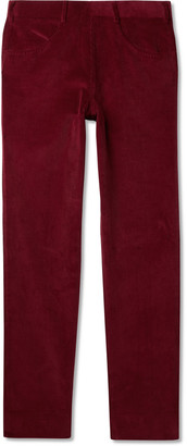 Anderson & Sheppard Slim-Fit Cotton-Corduroy Trousers - Men - Burgundy