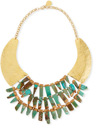 Devon Leigh Turquoise Hammered Statement Necklace