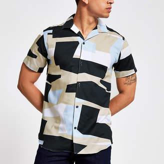 River Island Selected Homme blue geo regular fit shirt