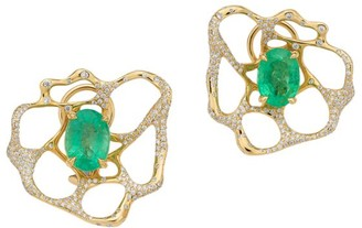 Ippolita Rock Candy 18K Yellow Gold, Diamond & Emerald Drizzle Flower Earrings