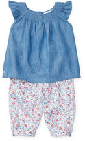 Ralph Lauren Sleeveless Smocked Chambray Top w/ Floral Leggings, Quincy Wash/Multicolor, Size 9-24 Months