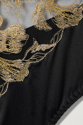 Coco de Mer Aria Metallic Embroidered Tulle And Satin Bodysuit - Black