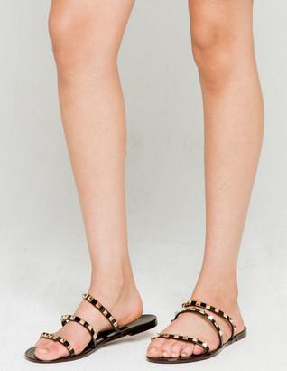 Wild Diva Stud Strap Womens Black Slide Sandals