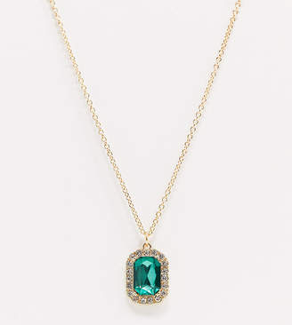 Asos DESIGN Curve necklace with green jewel pendant in gold tone