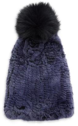 La Fiorentina Fox Rabbit Fur Pom Pom Beanie