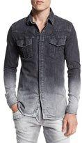 Pierre Balmain Ombre Denim Button-Down Shirt, Dark Gray