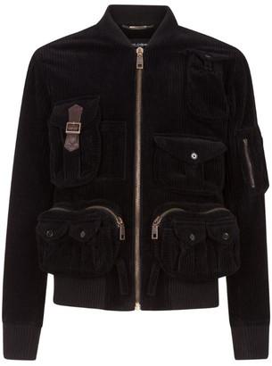 Dolce & Gabbana Velvet Pocket-Detail Bomber Jacket