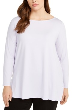 Eileen Fisher Plus Size Bateau-Neck Tunic