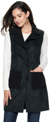 Nine West Women's Single-Breasted Faux-Shearling Vest