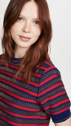 Kolor Striped Short Sleeve Sweater