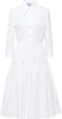 Prada Stretch-Cotton Poplin Shirt Dress
