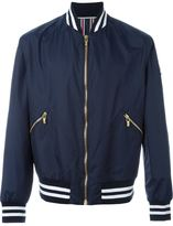 Moncler Gamme Bleu striped trim varsity jacket
