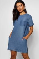 boohoo Lois Slouch Pocket Denim Dress
