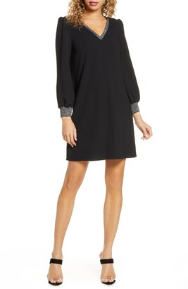 Sam Edelman Metallic Trim Long Sleeve Shift Dress
