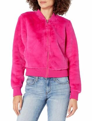 GUESS Women's Long Sleeve Prescilla Faux Fur Jacket