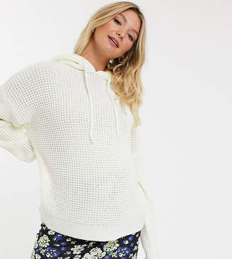 New Look Maternity waffle knit hoodie in cream