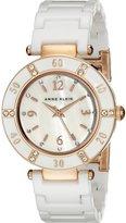 Anne Klein Women's 109416RGWT Swarovski Crystal Accented Rosegold-Tone White Ceramic Watch