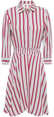 Maje Shirred Striped Twill Shirt Dress