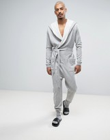 Asos Robe Onesie In Gray Marl