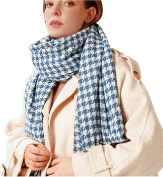 B Commerce B-commerce Women Tartan Scarf Winter Fashion Long Scarves Plaid Warm Wraps Wool British Style For Ladies Spinning Tassel Houndstooth Shawl Long Stole Muffler (Blue)
