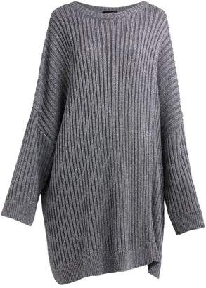 Raf Simons Cut Out Metallic Ribbed Knit Sweater - Womens - Silver