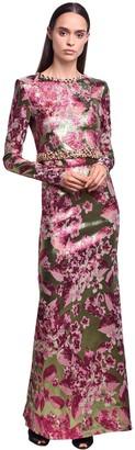 NERVI Floral Jacquard Lame Top & Skirt Set
