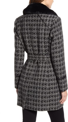 Via Spiga Double Breasted Houndstooth Wool Blend Coat with Faux Fur Trim