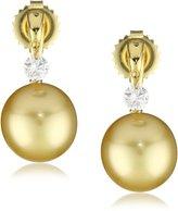 """TARA Pearls """"Dancing Diamond"""" Natural Color Golden South Sea Pearl Earrings"""