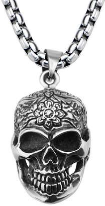 FINE JEWELRY Stainless Steel Flower Skull Pendant Necklace