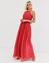 Chi Chi London halter neck maxi dress in burnt red