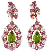 Buccellati 18K Peridot, Ruby, & Diamond Earclip Earrings