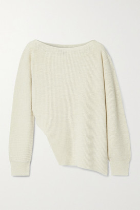 James Perse Asymmetric Ribbed Cotton And Linen-blend Sweater - Cream