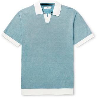 Mr P. - Knitted Cotton-Pique Polo Shirt - Men - Blue