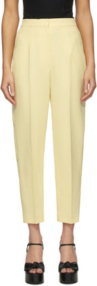 Alexander McQueen Yellow Wool and Silk High-Waisted Slim Trousers