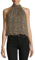 Alice + Olivia Maris Gathered Leopard-Print Sleeveless Halter Top