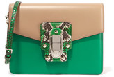 Dolce & Gabbana Lucia Python-trimmed Two-tone Leather Shoulder Bag - Green