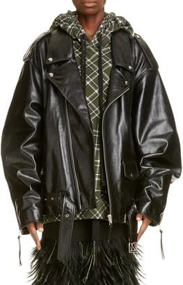 Dries Van Noten Oversized Leather Moto Jacket
