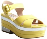 Miu Miu Canary And Silver Patent Leather Platform Sandals