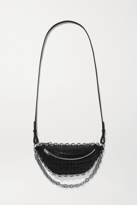 Alexander Wang Attica Embroidered Tweed And Patent-leather Belt Bag - Black